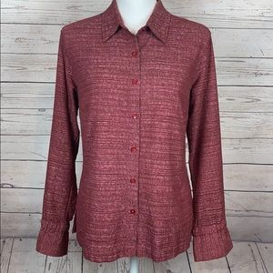 Columbia Burgundy Long Tie Sleeve Button Up Shirt